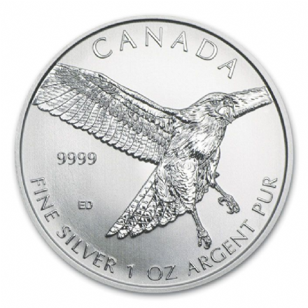 2015 1oz 5 Dollar Silver Bullion Red- Tailed Hawk from the Canadian Mint